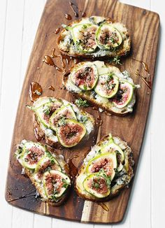 Fig and gorgonzola tartines: These tartines make an indulgent afternoon snack or stylish starter using a handful of fresh ingredients. These sourdough toasts are super easy to make and ready in 15 minutes, just assemble the toasts and pop under the grill for a couple of minutes.