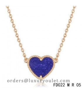 Van Cleef Arpels Sweet Alhambra Lapis Lazuli Heart Necklace Pink Gold