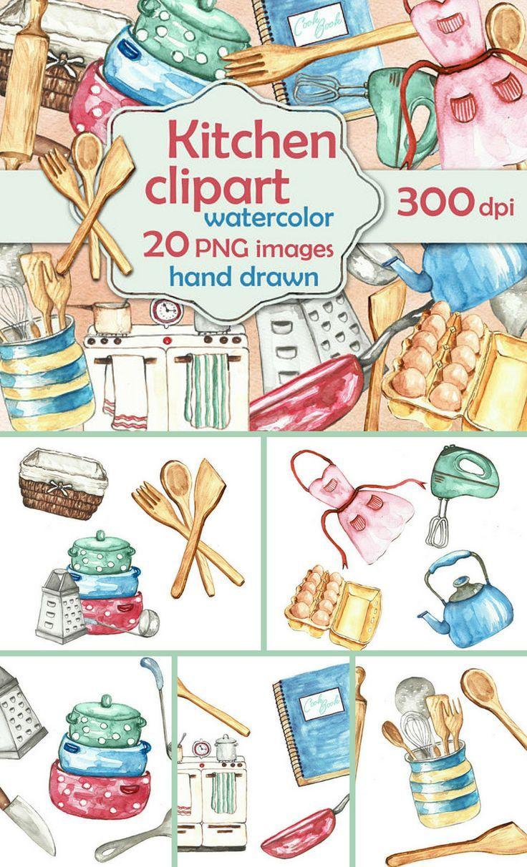 Clip Art Watercolor Vintage Baking Accessories Set 20 Images