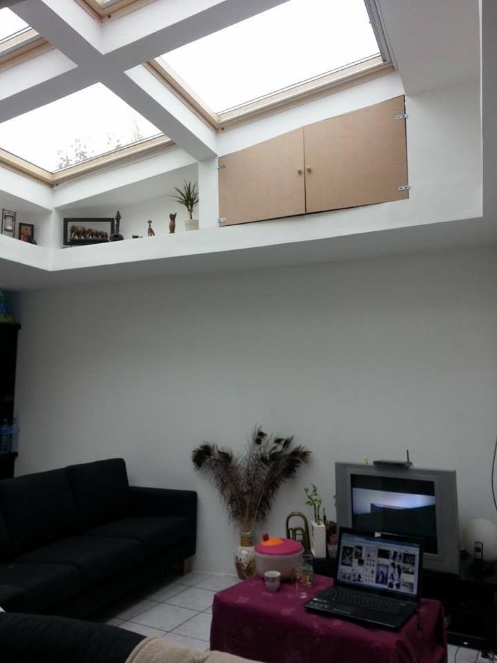 Ma maison Trou de lumière Velux / salon rangement