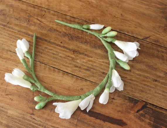 Freesia Crown White Flower Crown Flower Crown by DuendeJewelryEtsy