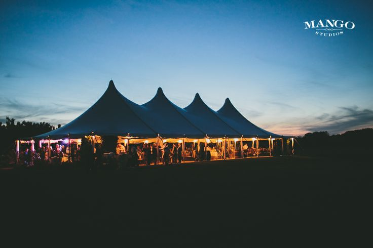 How about a tent party in the middle of the field? #reception #wedding #weddingparty #cute #tents #evening #lights #sunset #sky #cloud #party #weddinginspiration #mangostudios Photography by Mango Studios Venue: Kurtz Orchard's