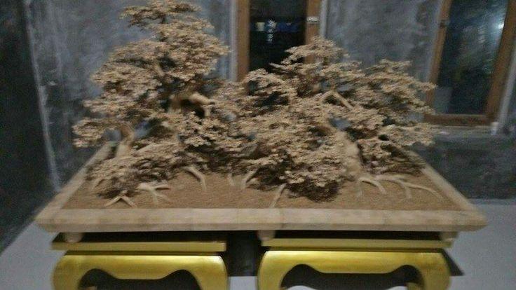 Bonsai semua dari akar bambu dengan daun 7946 daun dari akar bambu.