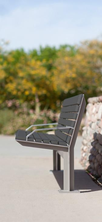 Knight Bench shown in 6 foot, backed configuration with Argento Texture powdercoated frame with polished edges and Slate Texture Powdercoated aluminum slats