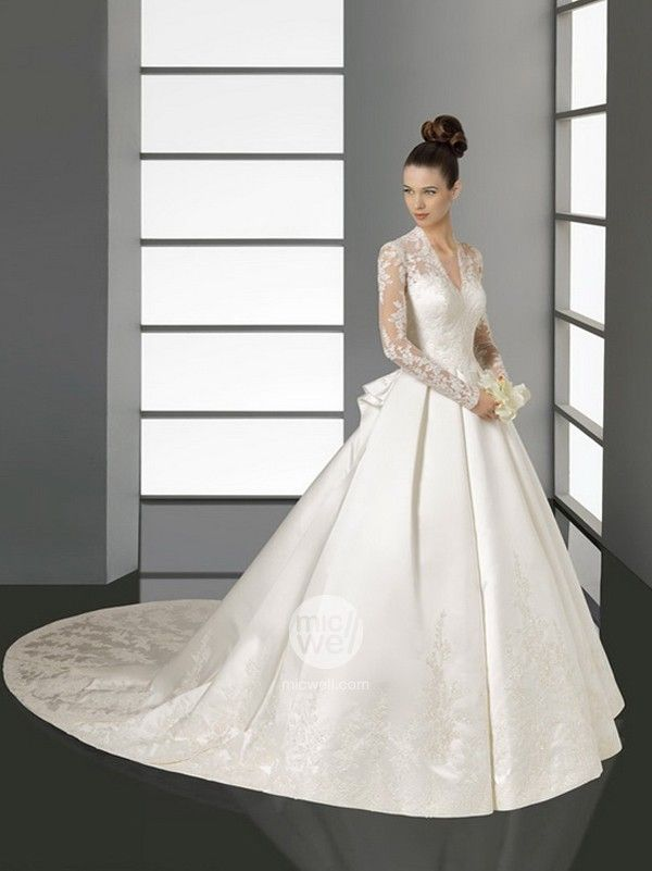2013 a line absorbing best selling kate middleton wedding dress long sleeves v neck lace