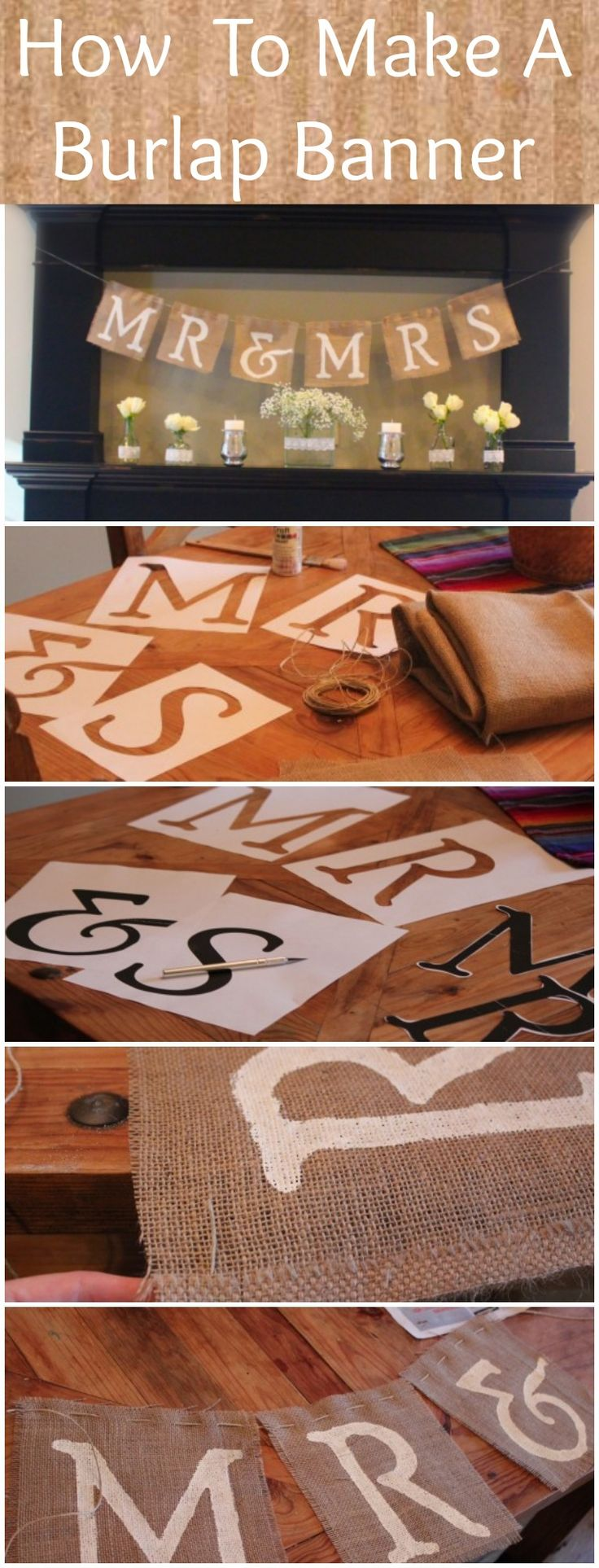 How To Make A Burlap Mr & Mrs Sign-Make on a smaller scale and hang above our wedding photos.