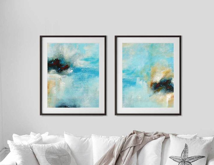 Set of 2 Prints, Abstract Wall Art, Printable Painting, Blue Art