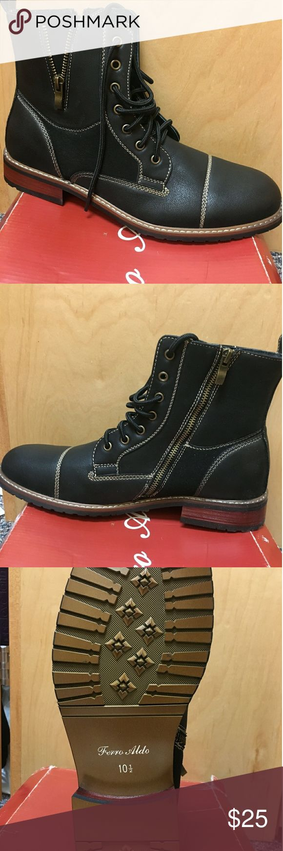 Ferro Aldi Boots Men's Ferro Aldo Boots. Brand new with box. Inside shoe zip up with shoe strings to tie on from of the boots. Shoes Boots