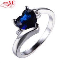 Doce Coração Azul Safira 925 Prata Esterlina Anéis para As Mulheres Anel de Casamento Moda Jóias de Ouro Branco Preenchido CZ Diamante RW1407(China (Mainland))