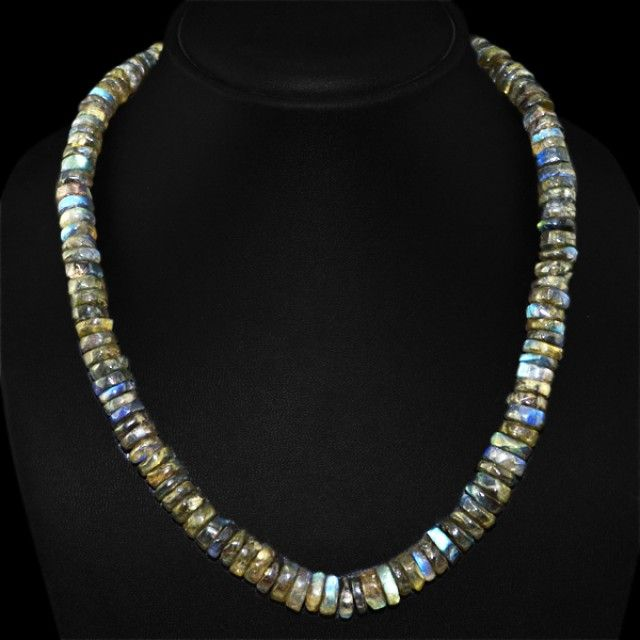 Natural 425.40 Cts Blue Color Change Labradorite Round Beads Necklace FASHIONABLE BEAD NECKLACE