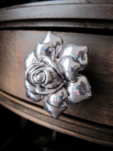 Rose dresser drawer knob in Silver Metal SET of 2 by DaRosa, $16.00