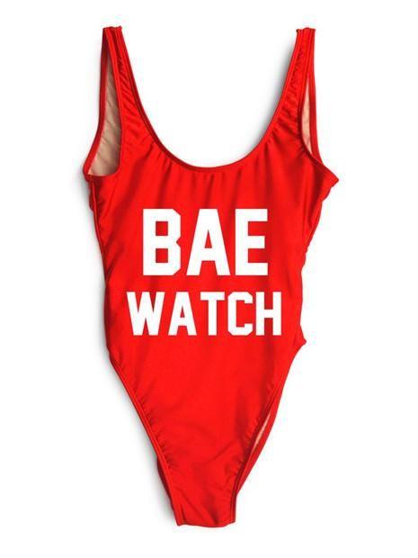 BAE WATCH One-Piece Slogan Swimsuit