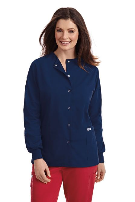 Round Neck Snap Button Warm-up Jacket  A favorite among nurses who like to layer. The lightweight material of this warm-up jacket is perfect for just the right amount of added warmth. Featuring two patch pockets, cuffed sleeves and a snap-up front closure. Available in solid white and navy  Medical | Lab Coats | Jackets | Doctors | Nurse| Dixie Uniforms Canada