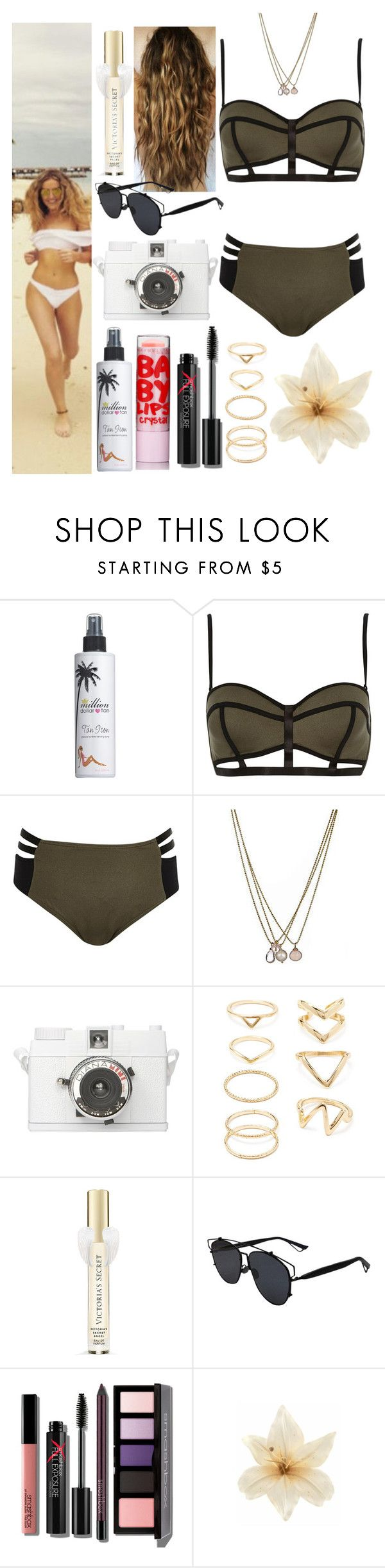 """""""Holidays with Perrie in the Maldives"""" by zandramalik ❤ liked on Polyvore featuring Million Dollar Tan, River Island, Lionette, Forever 21, Victoria's Secret, Christian Dior, Smashbox and Clips"""