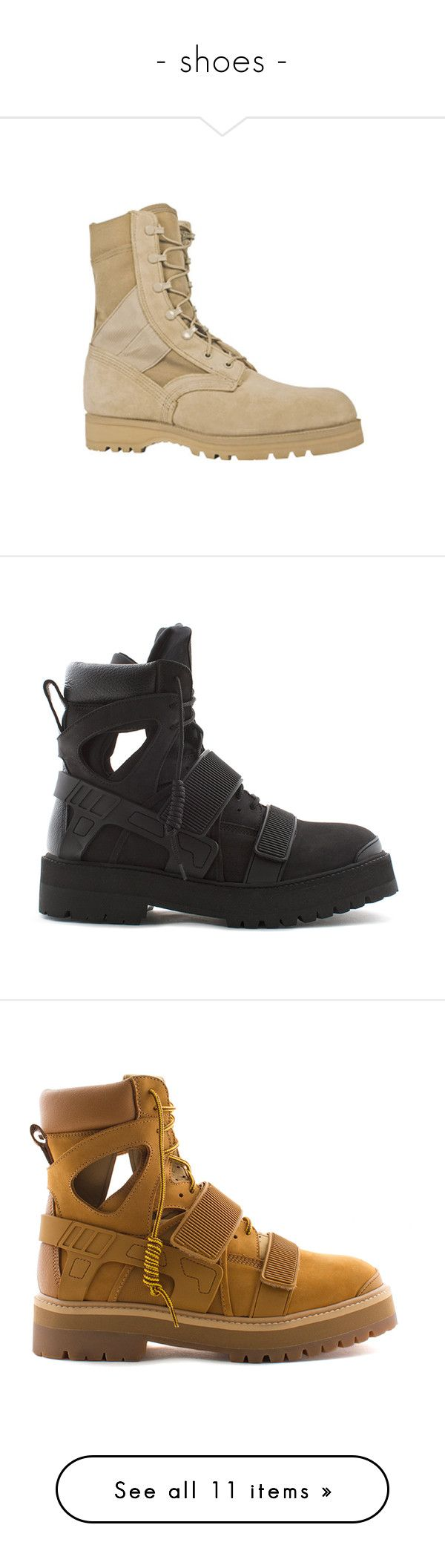 """""""- shoes -"""" by uniq-official ❤ liked on Polyvore featuring men's fashion, men's shoes, men's boots, tan, mens boots, mens lace up shoes, mens slip resistant shoes, mens tan shoes, mens tan boots and shoes"""