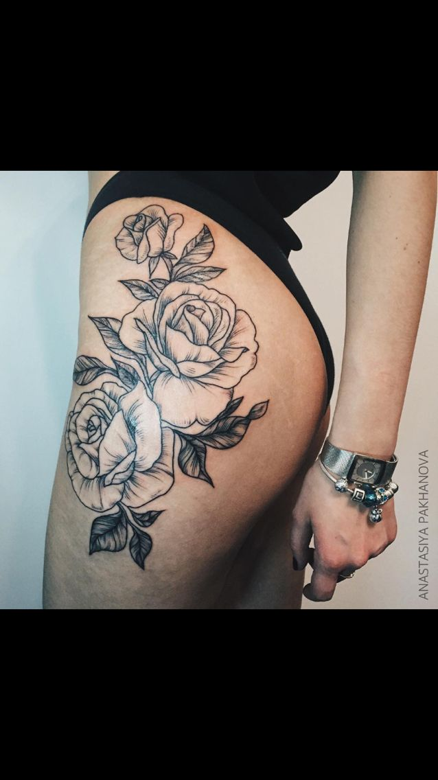 floral hip/thigh tattoo