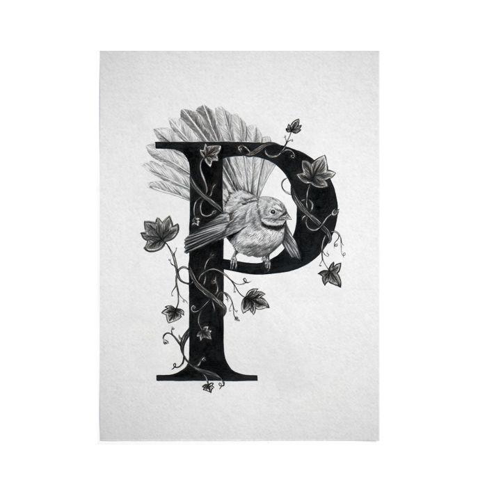 P for Piwakawaka Digital Art Print   Felt