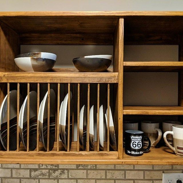 Under Cabinet Wood Plate Dish Rack Cabinet Shelf Kitchen Holds Etsy Plate Racks Dish Cabinet Dish Racks