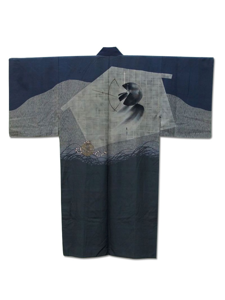 ☆'Undergrowth'☆ Men's silk underkimono with a fabulous design of a ceremonial bell