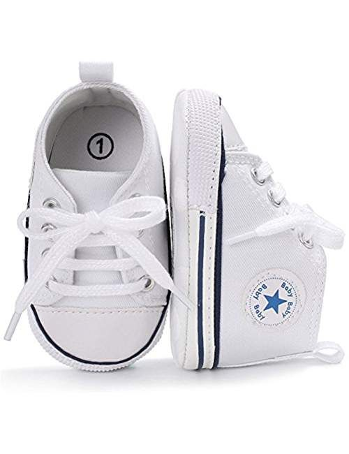 c118f1507d7be2 Baby Boy Girl Canvas High Top Sneakers Infant Toddler Soft Sole First  Walkers Shoes