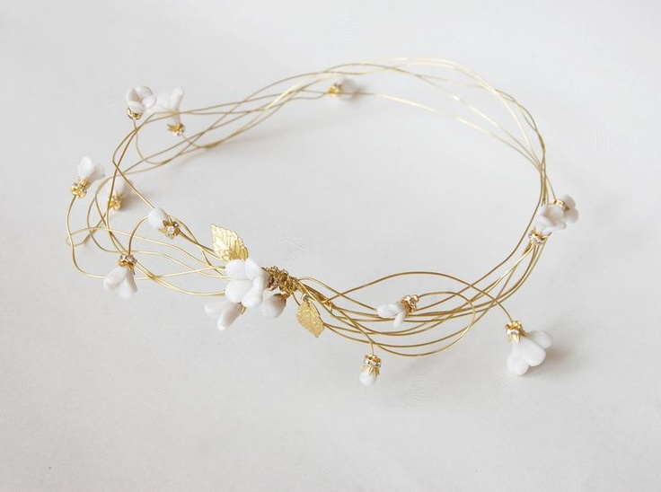 Bridal gold hair wreath, Wedding flower crown, Floral head piece, bride hair accessories, polymer clay, golden, ANNIE. €70.00, via Etsy.