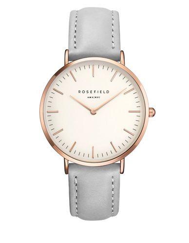 Hudson's Bay - Rosefield West Village Rose-Goldtone Leather Strap Watch