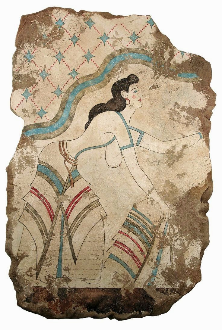 The Stream of Time: The Minoans: Fashion - Woman from the Procession of Ladies fresco at Akrotiri