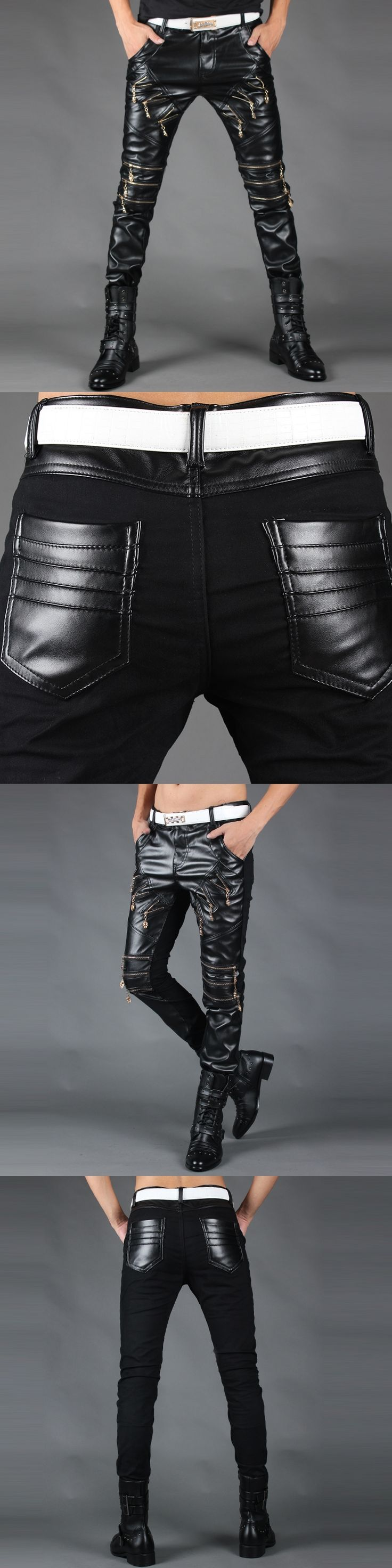 2017 spring and autumn new fashion personality tight-fitting nightclubs men's leather trousers men's self-cultivation leather tr