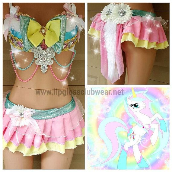 Unicorn Rave Wear Rainbow Theme Wear Dance by LipglossWear