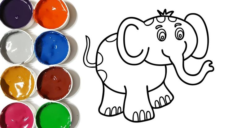 How to draw elephant coloring pages, drawing for kids, learn colors with...