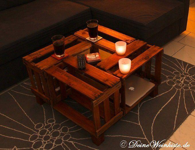 Weinkisten Couchtisch Aus Vier Weinkisten (mit  Anti Holzwurm Wärmebehandlung) In Wohnzimmer