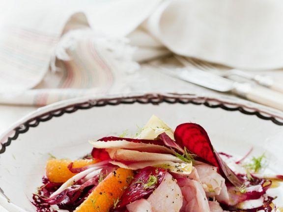Barsch-Carpaccio mit Roter-Bete und Orange ist ein Rezept mit frischen Zutaten aus der Kategorie Gemüsesalat. Probieren Sie dieses und weitere Rezepte von EAT SMARTER!