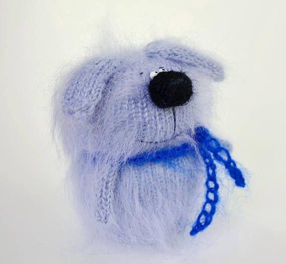 Knitted blue dog Stuffed dog hand-knit puppy amigurumi dog