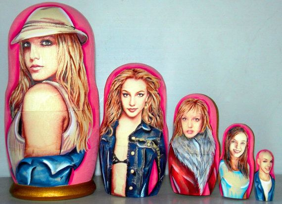 FREE SHIPPING Russian Matrioshka dolls Britney Spears traditional Russian wood curve nesting doll hand painted Russian wood toy collectible