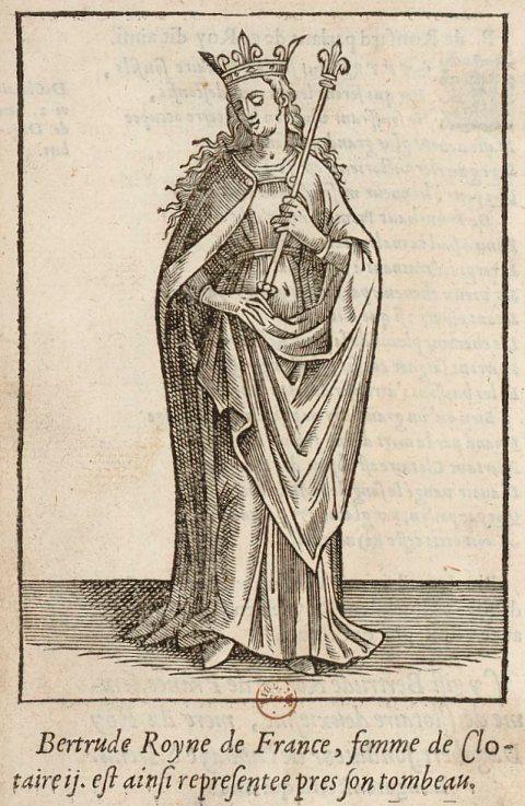 Estampe représentant Bertrude, épouse de Clotaire II, roi des Francs (début du…