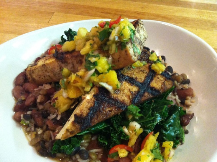 Jerk Tofu, Coconut Beans, Pistachio Basmati, Pineapple Salsa ~The ...