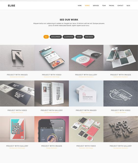 Elise is an AJAXified parallax one page WordPress template which includes retina support, 4 homepage template options, drag and drop page builder, Google Font support, sticky header, and more.
