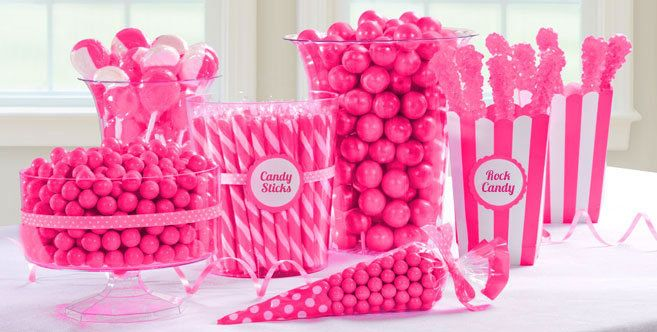 Bright Pink Candy Buffet - Party City They sell bright and light pink candy scoops!