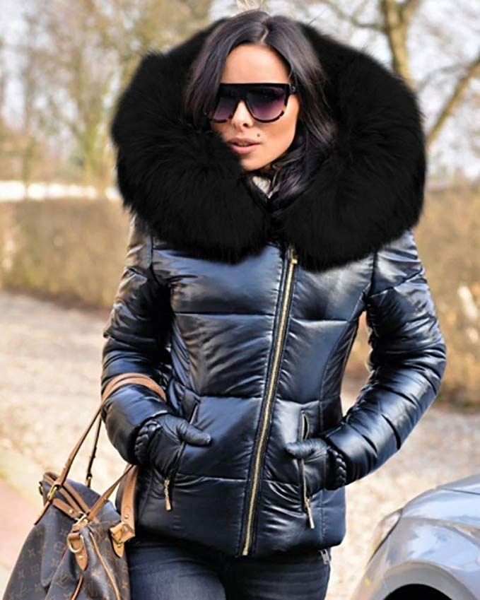 c80102261c36ef Amazon.com: Aofur Womens Ladies Quilted Winter Coat Fur Collar Hooded Down Jacket  Parka Outerwear: Clothing