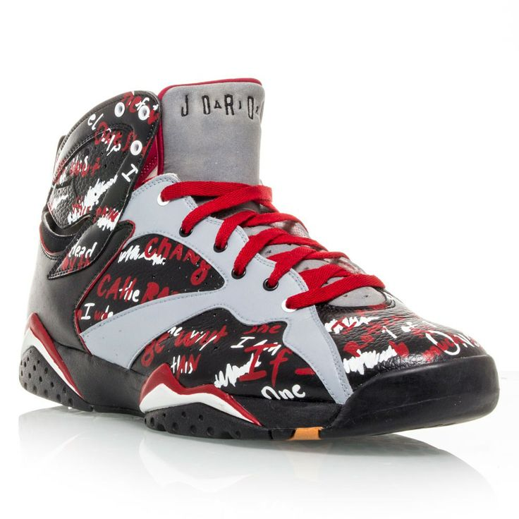 Air Jordan 7 Retro Custom EMINEM 1 of 1 - Mens Basketball Shoes - Black/Red/Grey | Basketball Shoes, Eminem and Basketball