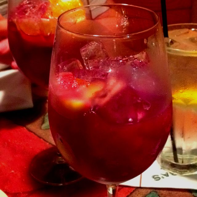 ~Copycat Carrabba's Red Sangria~  You need: one bottle of dry red wine (they use Scarlatto or Red Rock Merlot also works), 1/2 cup Monin Red Sangria Mix, 4-5 oz of Korbel Brandy, 2 & 1/2 cups of orange juice, 1/4 teaspoon cinnamon, shake well & top with orange slices.