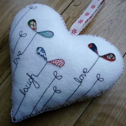 Live Laugh Love felt heart