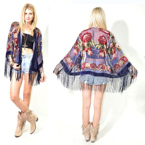 Sheer Silk Burnout Velvet Fringe Kimono Hippie Boho Gypsy Festival Jacket on Etsy, $114.00