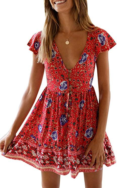 8ac4479557 Angashion Women's Sexy V Neck Floral Print Swing Mini Dress Short Sleeves Summer  Beach Dress at