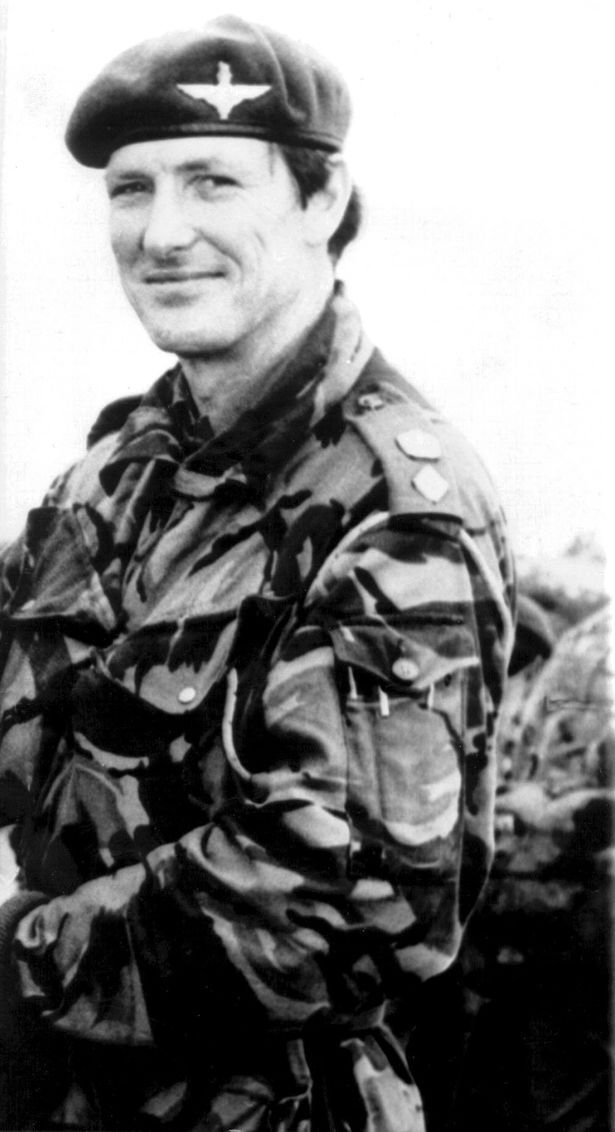 LIEUTENANT COLONEL H JONES VC. He died whilst charging an Argentine trench after he was hit by machine gun fire from a different enemy trench. He was posthumously awarded the Victoria Cross for his actions that day.