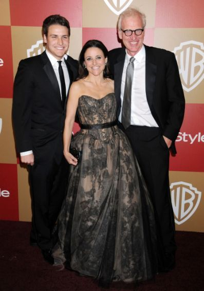 Julia Louis-Dreyfus, husband Brad Hall and son Henry Hall arrive at the InStyle and Warner Bros. Golden Globe party at The Beverly Hilton Hotel on January 13, 2013 in Beverly Hills, California. (Photo by Gregg DeGuire/WireImage)