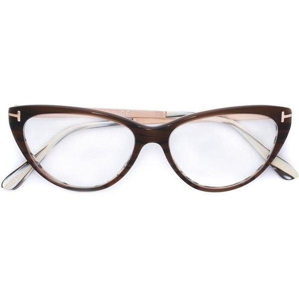 Tom Ford Cat-Eye Glasses found on Polyvore featuring polyvore, women's fashion, accessories, eyewear, eyeglasses, brown, cat eye glasses, tom ford glasses, cat eyewear and brown glasses