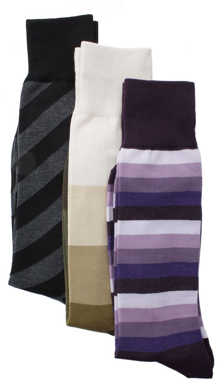 Soxmile Men's Kingsize Business Casual Stripes Socks 3pk - http://soxmile.com/portfolio-view/soxmile-mens-kingsize-business-casual-stripes-socks-3pk/