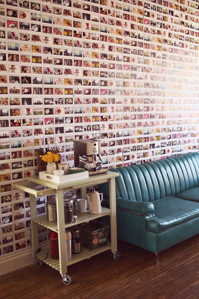 My wife would love to do a wall like rhis in our house. - Another amazing home DIY by @Elyse Exposito Woodbury Pehrson Larson of A Beautiful Mess.  A polaroid wall!  Featured on www.moorea-seal.com.  Be sure to check out her blog www.abeautifulmess.com.