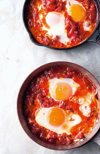 This particular recipe for shakshuka from Yotam Ottolenghi's Jerusalem is the seasonal variant for the summer and early autumn. Potatoes are used during the winter and aubergines in spring. This is a hugely popular dish that's incredibly easy to prepare and absolutely delicious. Yum!